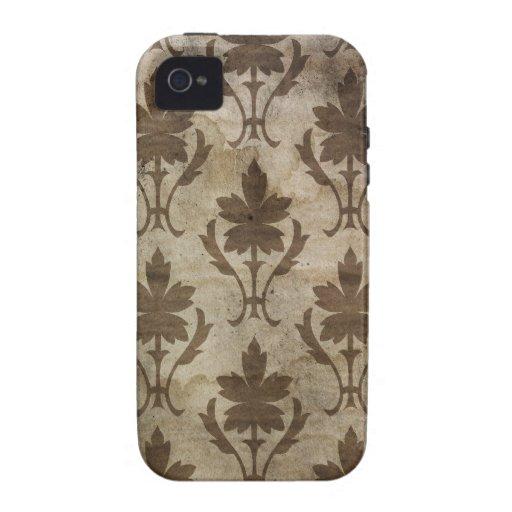 Papel pintado descolorado del damasco del vintage iPhone 4/4S carcasas