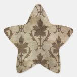 Papel pintado descolorado del damasco del vintage pegatina en forma de estrella