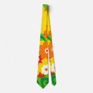 Papel pintado divertido del flower power corbata