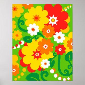 Papel pintado divertido del flower power póster