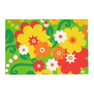 Papel pintado divertido del flower power + sus salvamanteles