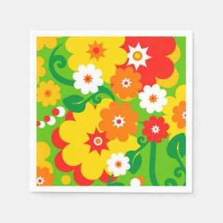 Papel pintado divertido del flower power + sus servilleta de papel