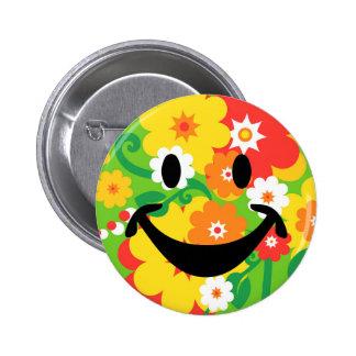 Papel pintado divertido y smiley del flower power pin redondo de 2 pulgadas