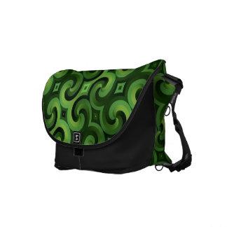 Papel pintado espiral interconectado verde torcido bolsa messenger