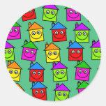 Papel pintado feliz de la casa pegatina redonda