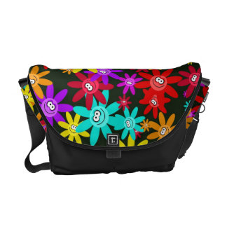 Papel pintado feliz de la flor bolsa messenger
