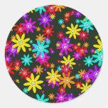 Papel pintado feliz de la flor etiqueta redonda