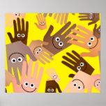 Papel pintado feliz de las manos impresiones