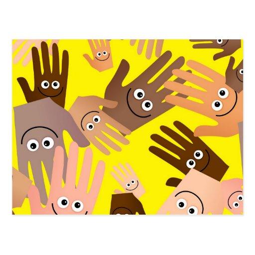 Papel pintado feliz de las manos postales