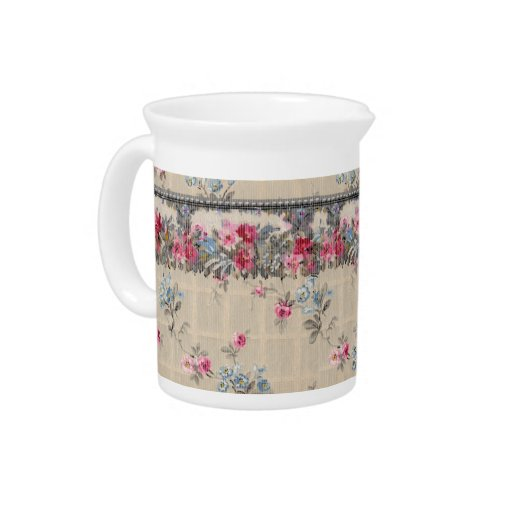 Papel pintado floral antiguo jarra para bebida