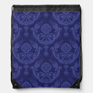 Papel pintado floral azul de lujo del damasco mochilas