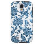 Papel pintado floral azul y blanco del vintage ele