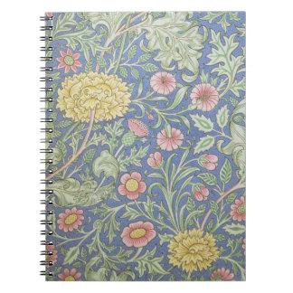 Papel pintado floral de William Morris, diseñado e Libros De Apuntes