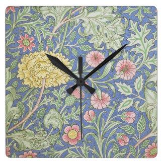 Papel pintado floral de William Morris, diseñado e Reloj Cuadrado