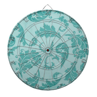 Papel pintado floral del damasco de la turquesa de