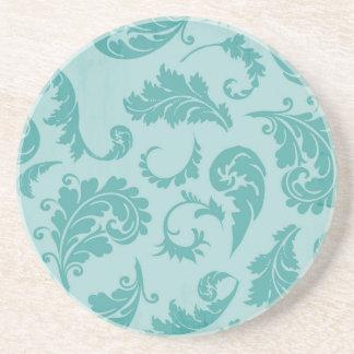 Papel pintado floral del damasco de la turquesa de posavasos para bebidas