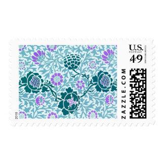Papel pintado floral del modelo de la vid del timbre postal
