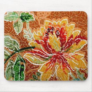 Papel pintado floral del vintage amarillo rojo tapete de ratones