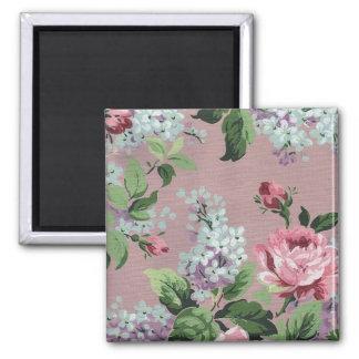 Papel pintado floral del vintage bonito imán cuadrado