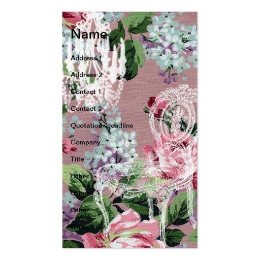 Papel pintado floral del vintage con la silla y la tarjetas de visita