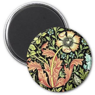 Papel pintado floral del vintage imán redondo 5 cm