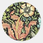 Papel pintado floral del vintage pegatina redonda