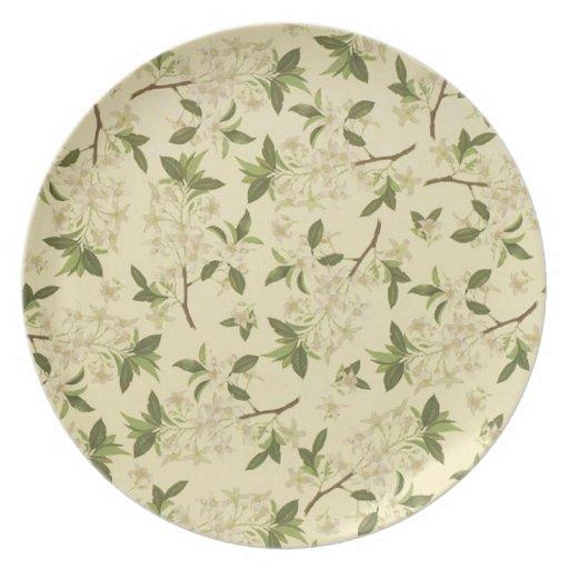 Papel pintado floral del vintage plato para fiesta