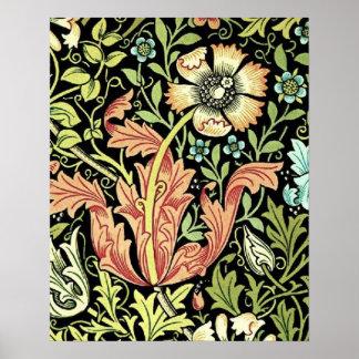 Papel pintado floral del vintage póster