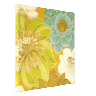 Papel pintado floral del vintage, verde de la impresiones de lienzo