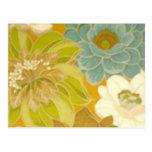 Papel pintado floral del vintage, verde de la turq tarjetas postales
