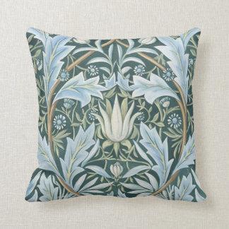 Papel pintado floral elegante del verde azul del v cojines