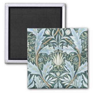 Papel pintado floral elegante del verde azul del v imán de nevera