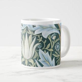 Papel pintado floral elegante del verde azul del v tazas jumbo