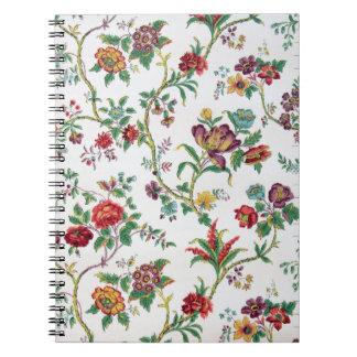Papel pintado floral multicolor, C. 1912 Libros De Apuntes Con Espiral