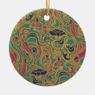 Papel pintado floral que remolina, 1966-1968 adorno navideño redondo de cerámica