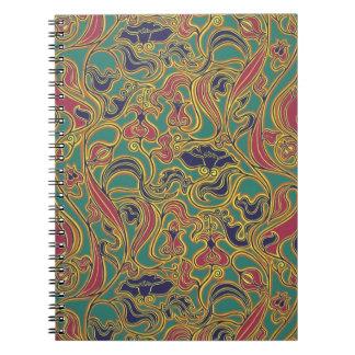 Papel pintado floral que remolina, 1966-1968 libretas