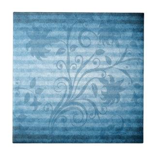 Papel pintado floral rayado azul del vintage azulejo cuadrado pequeño