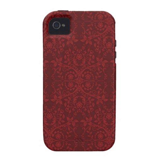 Papel pintado floral rojo detallado iPhone 4/4S fundas