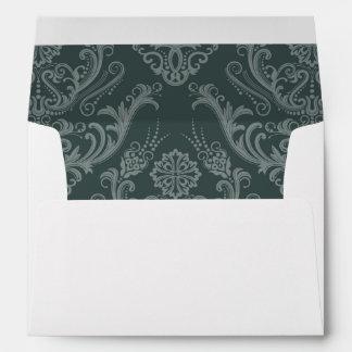 Papel pintado floral verde de lujo del damasco sobres