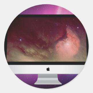 "PAPEL PINTADO IMAC 27"" DE MAC OS X PEGATINA REDONDA"