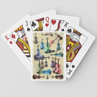 Papel pintado multicolor del violín cartas de póquer