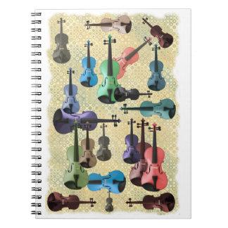 Papel pintado multicolor del violín libretas