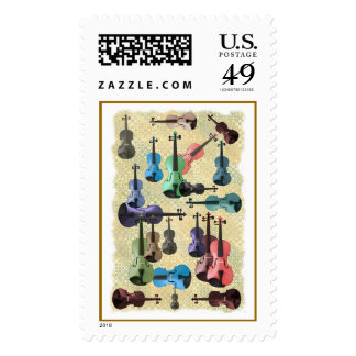 Papel pintado multicolor del violín sello