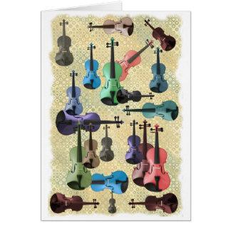 Papel pintado multicolor del violín tarjeta de felicitación