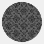 Papel pintado negro del vintage etiqueta redonda