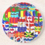Papel pintado ondulado de la bandera posavasos personalizados