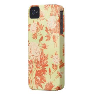 Papel pintado rasguñado floral del vintage verde iPhone 4 Case-Mate fundas