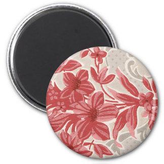 Papel pintado rayado del vintage de las flores imán redondo 5 cm
