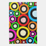 Papel pintado retro colorido de los anillos toallas de cocina