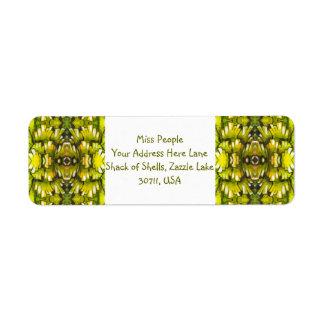Papel pintado retro Pat del verde amarillo y verde Etiquetas De Remite